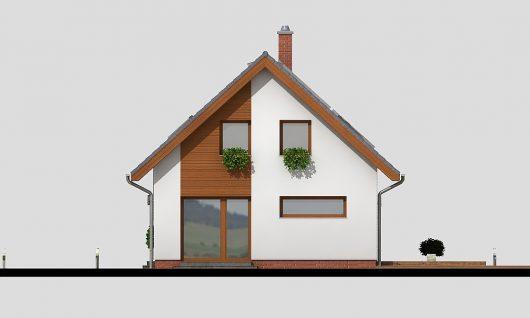 Фасад мансардного дома с террасой и гаражом S19 - вид слева