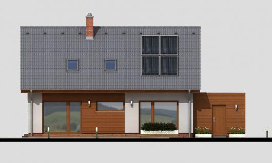 Фасад мансардного дома с террасой и гаражом S19 - вид сзади