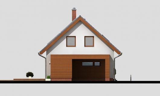 Фасад мансардного дома с террасой и гаражом S19 - вид справа