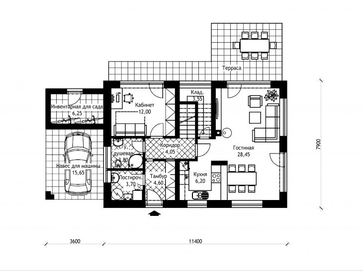 План 1 этажа мансардного дома с террасой и гаражом S19