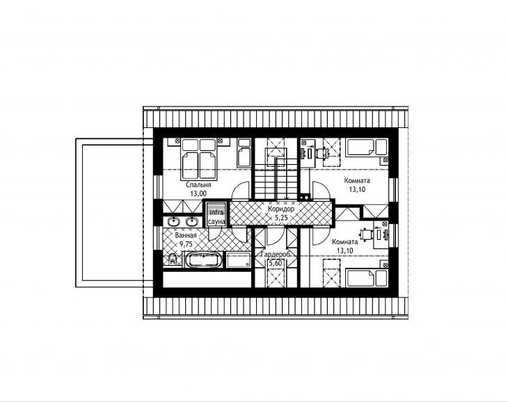 План 2 этажа мансардного дома с террасой и гаражом S19