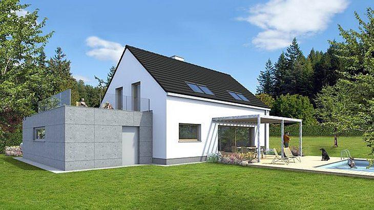 Проект мансардного дома с террасой и гаражом S21 - фото №2