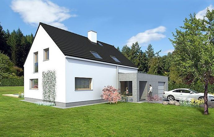 Проект мансардного дома с террасой и гаражом S21 - фото №1