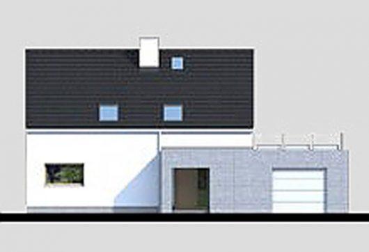 Фасад мансардного дома с террасой и гаражом S21 - вид спереди