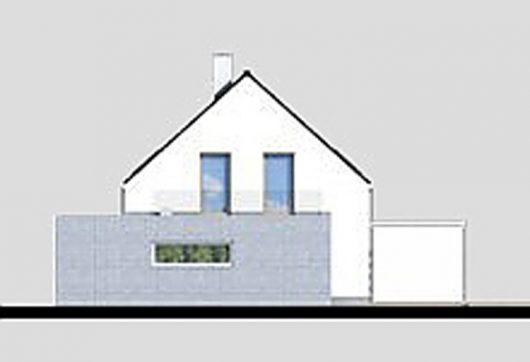 Фасад мансардного дома с террасой и гаражом S21 - вид слева