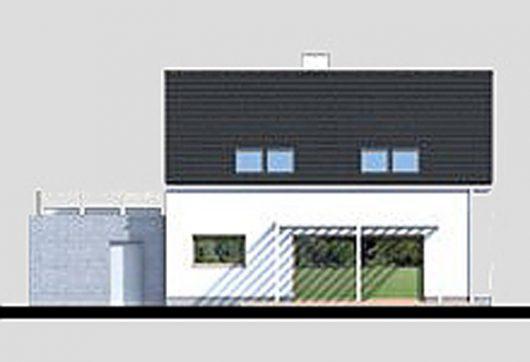 Фасад мансардного дома с террасой и гаражом S21 - вид сзади