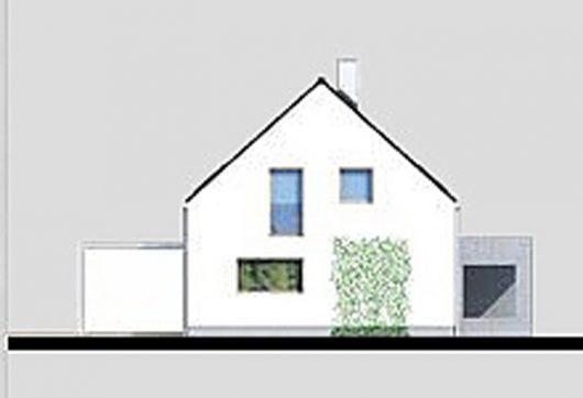 Фасад мансардного дома с террасой и гаражом S21 - вид справа