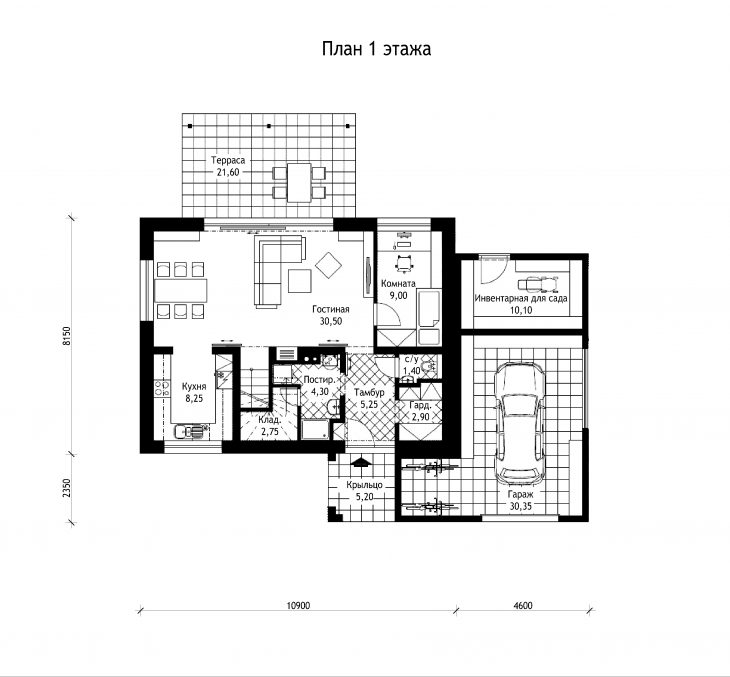 План 1 этажа мансардного дома с террасой и гаражом S21