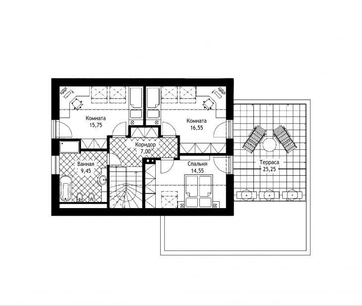 План 2 этажа мансардного дома с террасой и гаражом S21