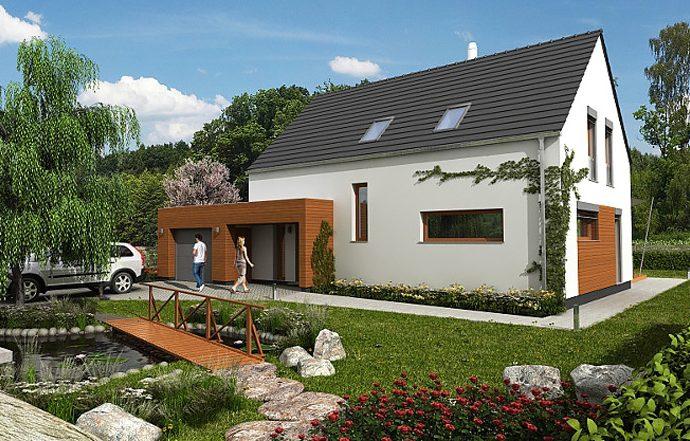 Проект мансардного дома с террасой и гаражом S24 - фото №1