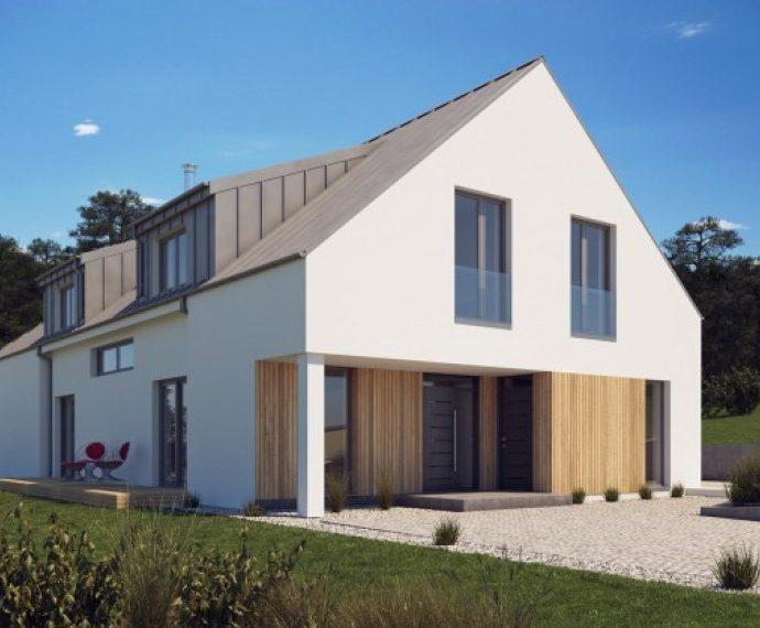 Проект мансардного дома с террасой S27 - спереди