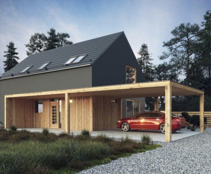 Проект мансардного дома с террасой S28 - фото №1