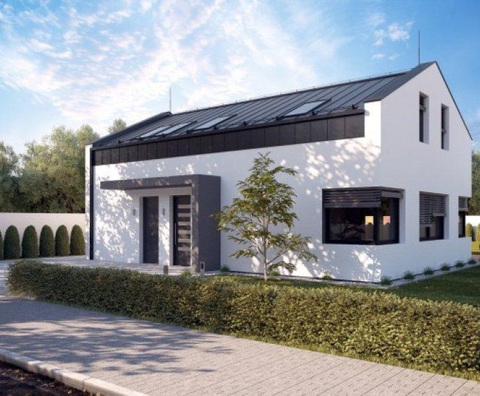 Проект мансардного дома с террасой и гаражом S31 - фото №1