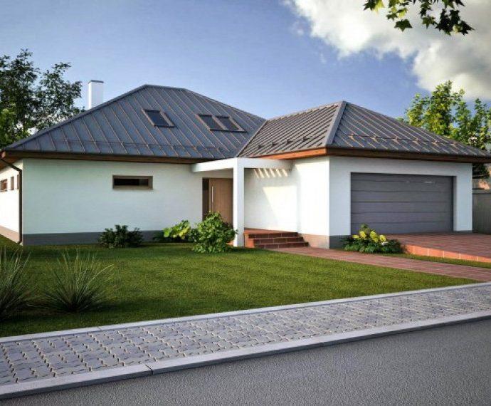 Проект мансардного дома с террасой и гаражом S33 - вид спереди