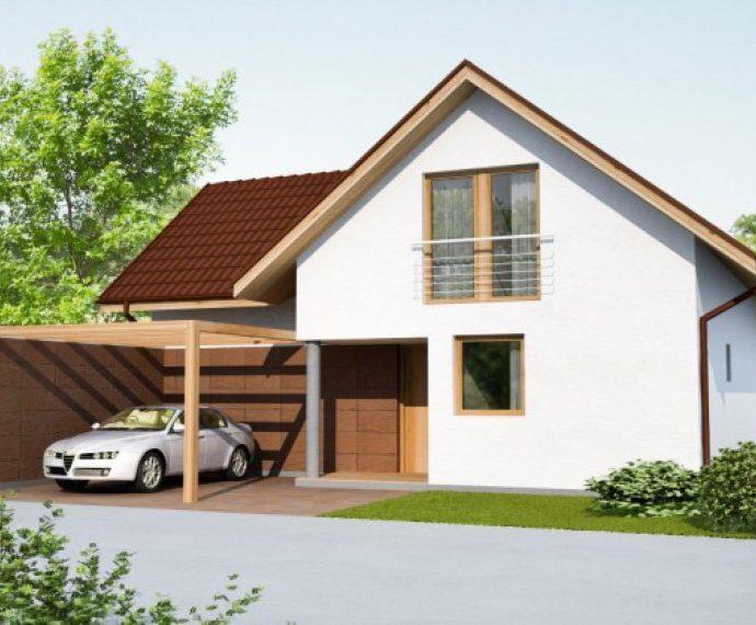 Проект мансардного дома с террасой и гаражом S42 - фото №1