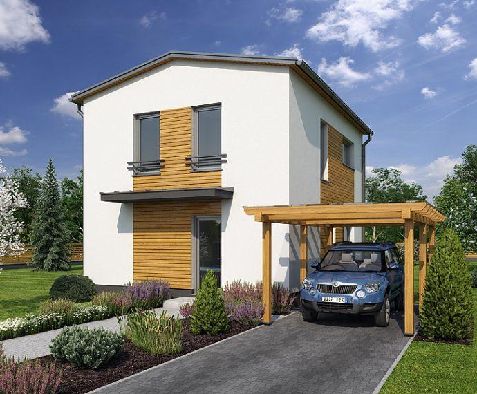 Проект двухэтажного дома с террасой V01 - фото №1