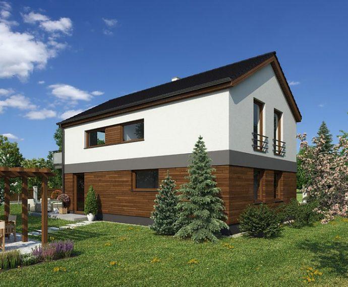 Проект двухэтажного дома с террасой V02 - фото №1