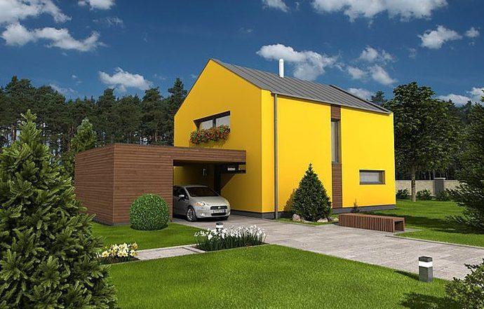 Проект двухэтажного дома с террасой и навесом V04 - фото №1