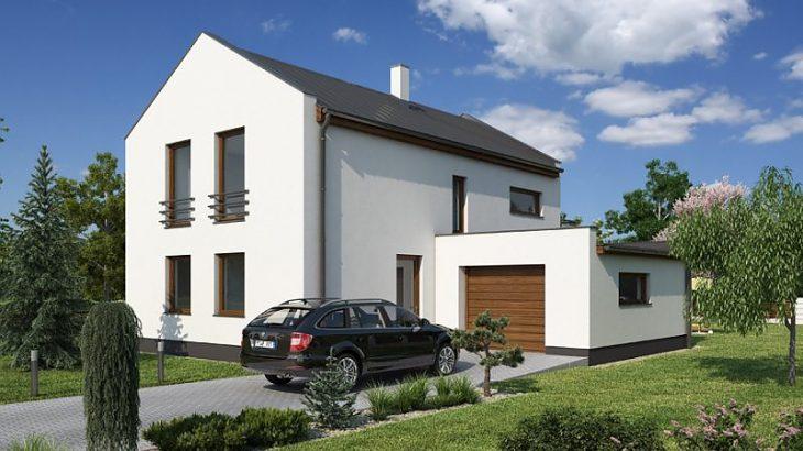 Проект двухэтажного дома с террасой и гаражом V05 - фото №1