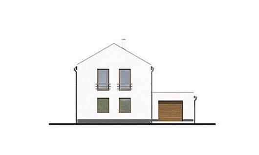 Фасад двухэтажного дома с террасой и гаражом V05 - спереди