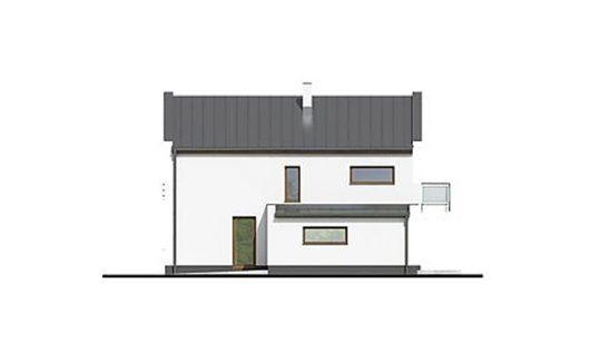 Фасад двухэтажного дома с террасой и гаражом V05 - слева