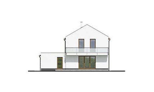 Фасад двухэтажного дома с террасой и гаражом V05 - сзади