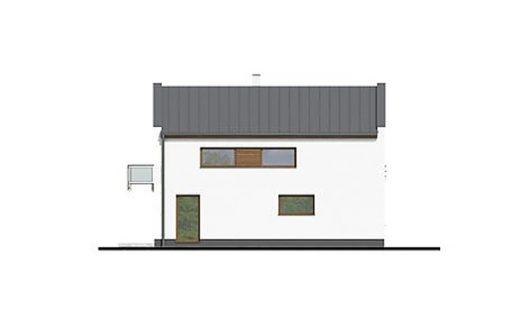 Фасад двухэтажного дома с террасой и гаражом V05 - справа