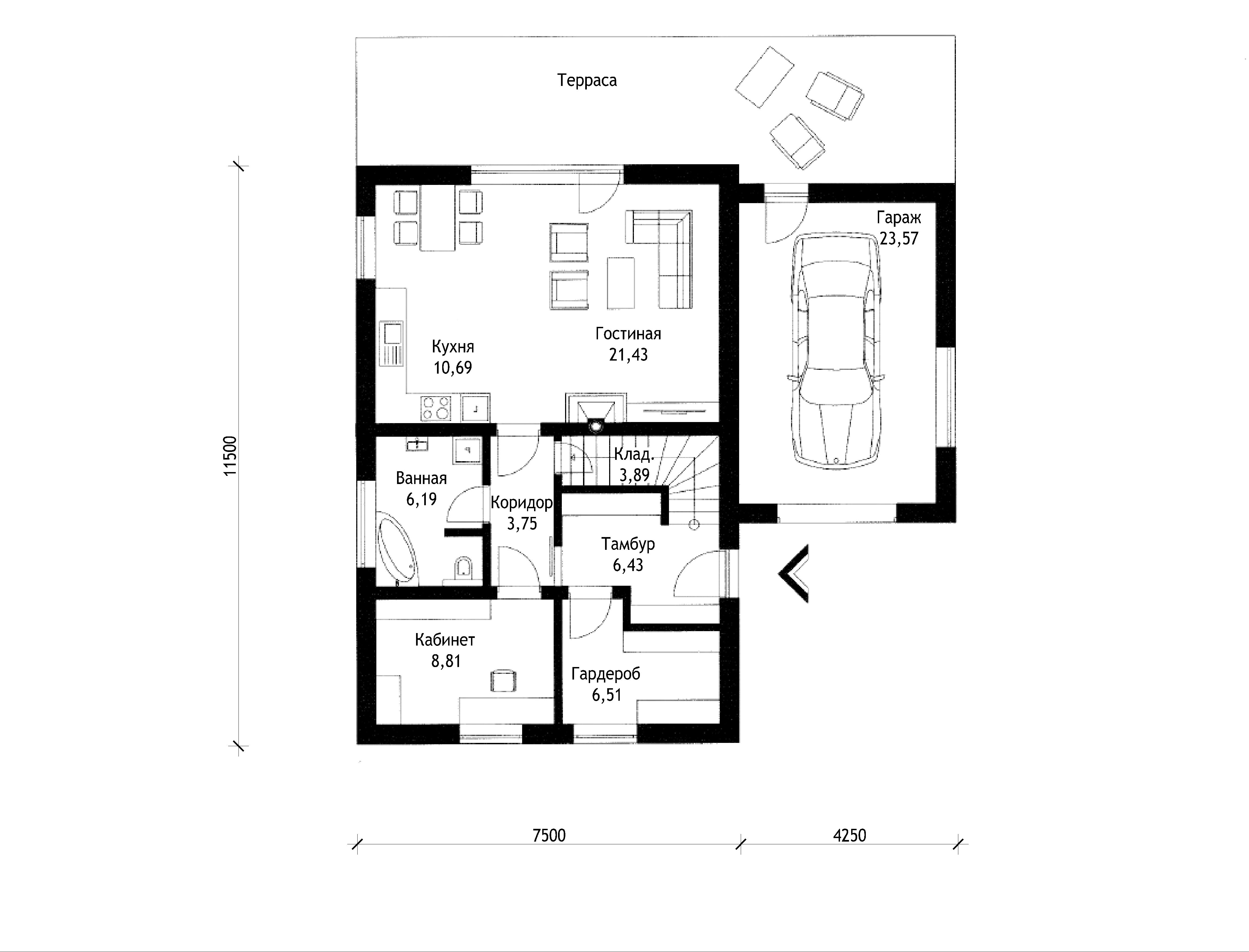 План 1 этажа двухэтажного дома с террасой и гаражом V05