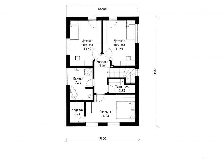 План 2 этажа двухэтажного дома с террасой и гаражом V05