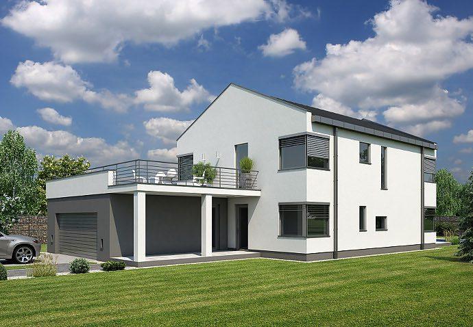 Проект двухэтажного дома с террасой и гаражом V08 - фото №1
