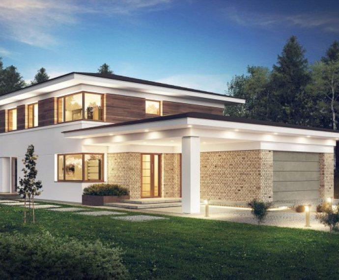 Проект двухэтажного дома с террасой, гаражом и навесом V12 - фото №1