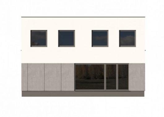 Фасад двухэтажного дома с гаражом V13 - вид справа