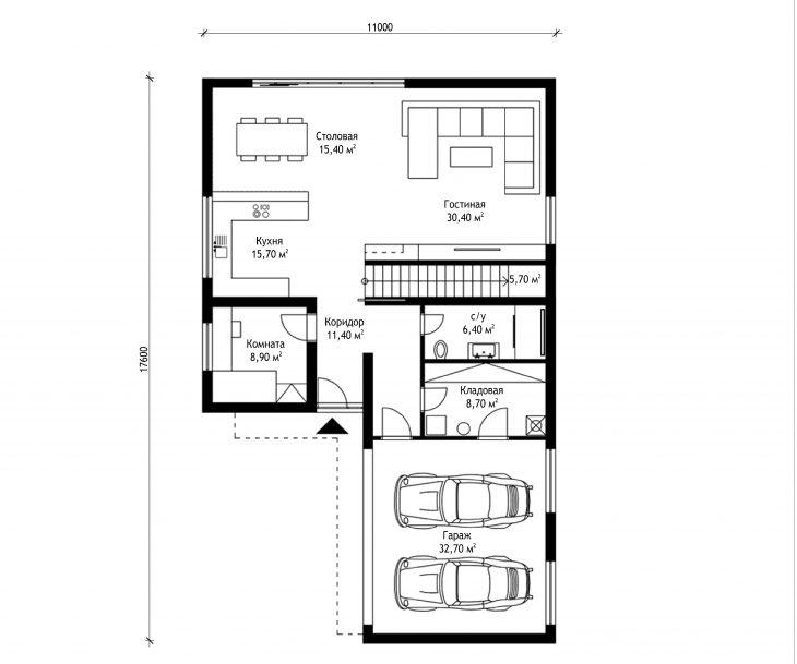 План 1 этажа двухэтажного дома с гаражом V13