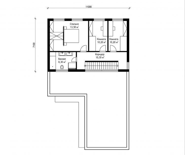 План 2 этажа двухэтажного дома с гаражом V13
