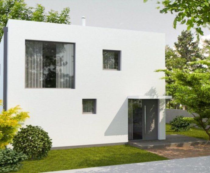Проект двухэтажного дома с террасой и навесом V18 - фото №1