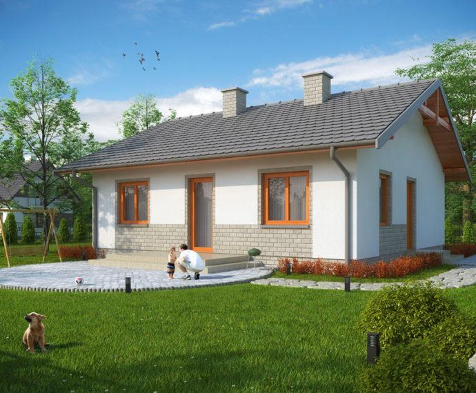 Проект одноэтажного дома с террасой P122 - фото №1