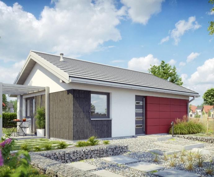 Проект одноэтажного дома с террасой P123 - фото №1