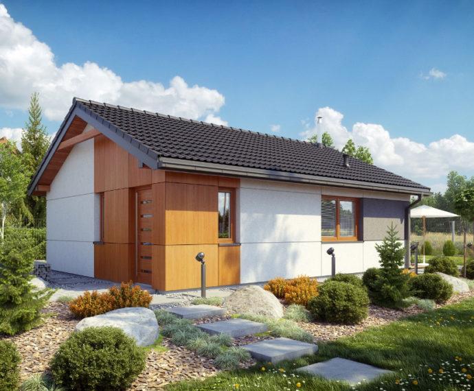 Проект одноэтажного дома с террасой P124 - фото №1