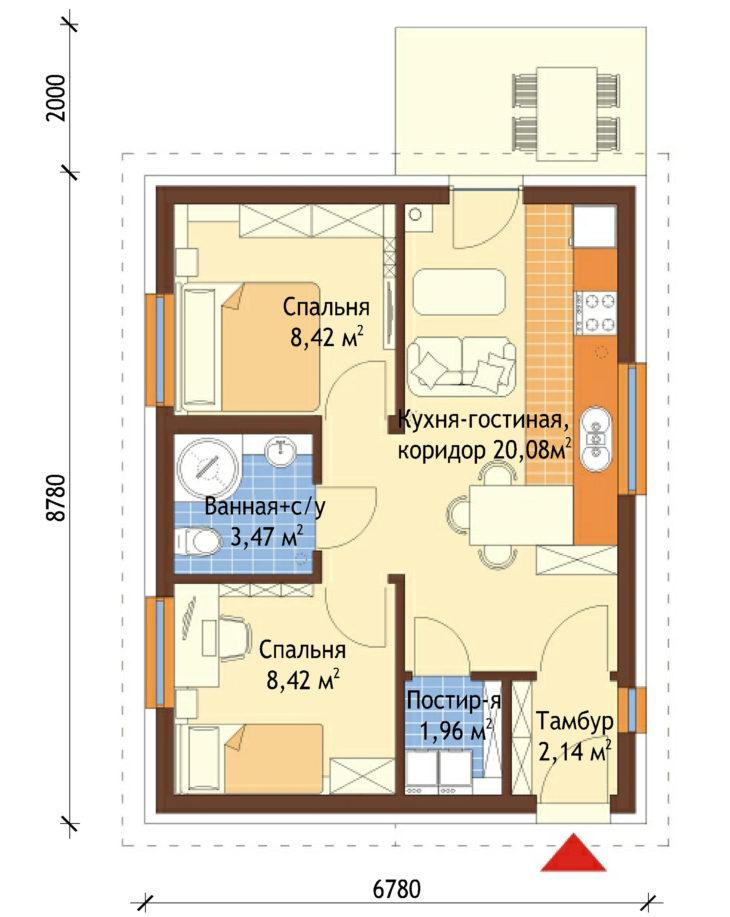 План этажа одноэтажного дома с террасой P124