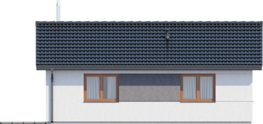 Фасад одноэтажного дома с террасой P124 - вид слева