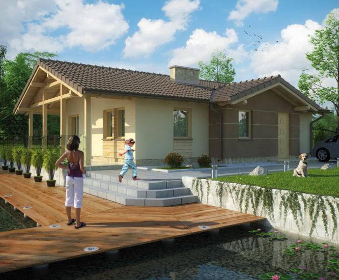 Проект одноэтажного дома с террасой P126 - фото №1