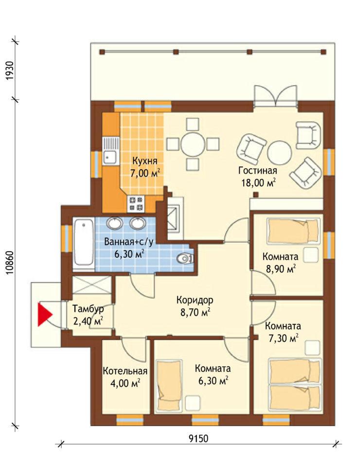 План этажа одноэтажного дома с террасой P126