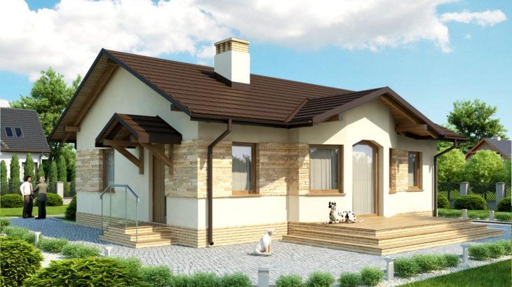 Проект одноэтажного дома с террасой P128 - фото №1