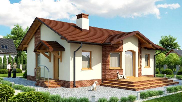 Проект одноэтажного дома с террасой P128 - фото №2
