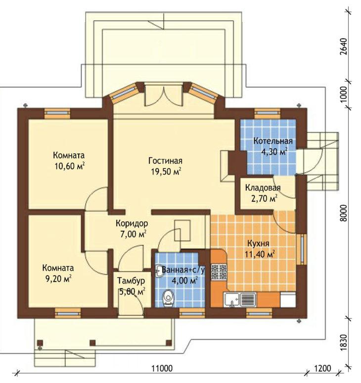 План этажа одноэтажного дома с террасой P128