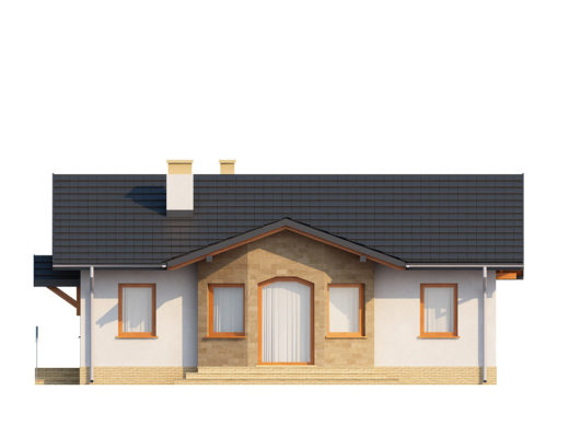 Фасад одноэтажного дома с террасой P128 - вид сзади