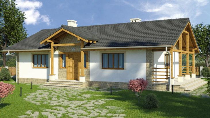 Проект одноэтажного дома с террасой P130 - фото №2