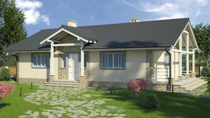 Проект одноэтажного дома с террасой P130 - фото №1