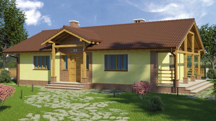 Проект одноэтажного дома с террасой P130 - фото №3