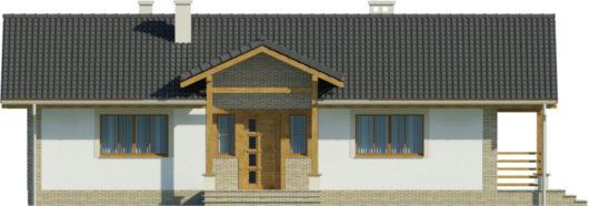Фасад одноэтажного дома с террасой P130 - вид спереди